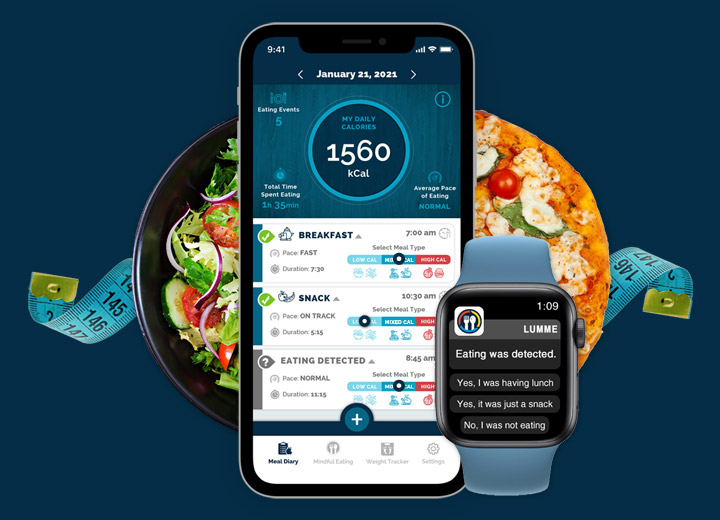 Lumme Health - Automated Calorie Tracking App - Meal Diary Screen